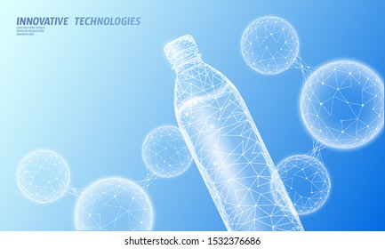 3D water bottle polygonal banner. Aqua liquid package. Plastic transparent drink full beverage clean natural artesian drinking water. Low poly dark modern design vector illustration