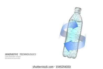 3D water bottle polygonal banner. Aqua liquid package. Plastic transparent drink full beverage clean natural artesian drinking water. Low poly white modern design vector illustration