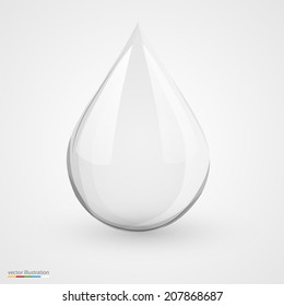 3D water drop on white isolated. Vector illustration