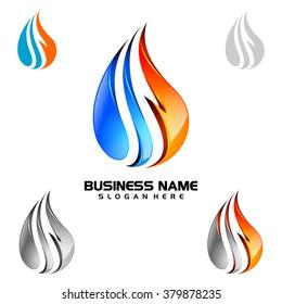 3d water drop vector logo design