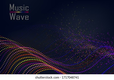 3d wave point fractal mesh. Futuristic science infographic. Sound visualization. Vector illustration
