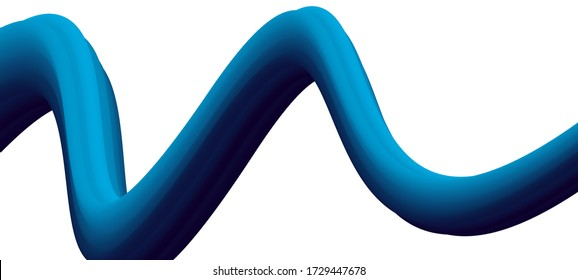 3D Waving Blue Vector Line on White Background. Can be used for web design, banner or a creative presentation. Vector Illustration.