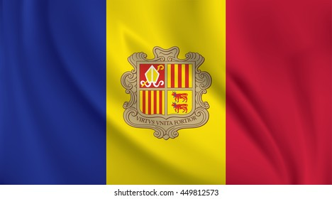 3D Waving Flag of Andorra