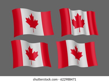 3D Waving flag of Canada. Vector illustration. Isolated on grey background. Design element.