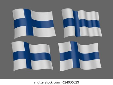 3D Waving flag of Finland. Vector illustration. Isolated on grey background. Design element.