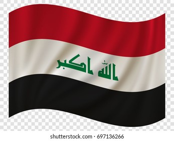 3D Waving Flag of Iraq. Vector illustration
