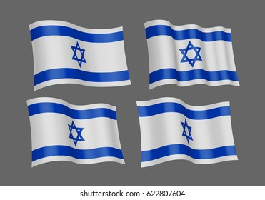 3D Waving flag of Israel. Vector illustration. Isolated on gray background. Design element. The silky fabric.