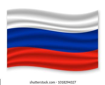 3D Waving Flag of Russia. Vector illustration