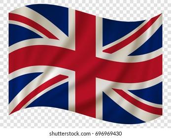 3D Waving Flag of United Kingdom. Vector illustration