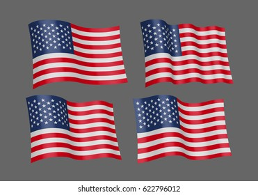 3D Waving flag of the United States. Vector illustration. Isolated on gray background. Design element. The silky fabric.