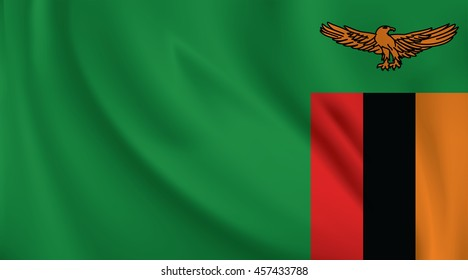 3D Waving Flag of Zambia