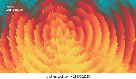 3D wavy background with ripple effect. Abstract vector illustration. Design template. Modern pattern.