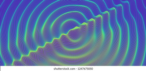 3D wavy background with ripple effect. Vector illustration with particle. 3D grid surface.