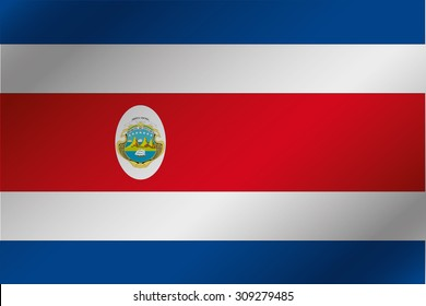 A 3D Wavy Flag Illustration of the country of  Costa Rica