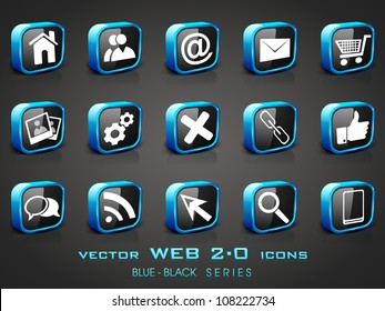 3D web 2.0 mail icons set in black and blue color. Can be used for websites, web applications. email applications or server Icons