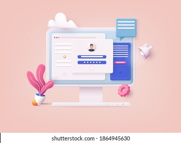 3D Web Vector Illustrations. Computer and account login and password form page on screen. Sign in to account, user authorization, login authentication page concept. Username, password fields.