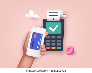 3D Web Vector Illustrations. Contactless payment. Near field communication payment terminal concept. Online transactions, paypass and NFC.