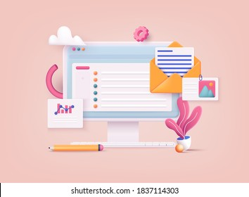 3D Web Vector Illustrations. Mail service concept.  Computer with open pages.