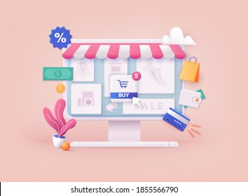 3D Web Vector Illustrations. Online shopping.Design graphic elements, signs, symbols. Mobile marketing and digital marketing.