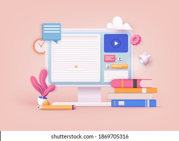 3D Web Vector Illustrations. Online concept. Computer with open pages.