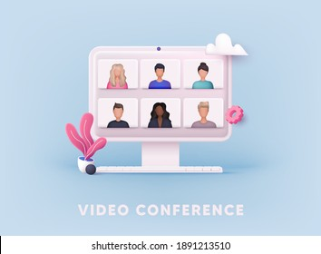 3D Web Vector Illustrations. Teleconference web video conference.