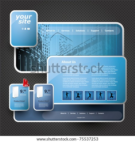 3 D Website Template Stock Vector Royalty Free 75537253 Shutterstock