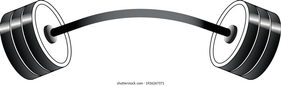 3D weight lifting barbell silhoutte vector