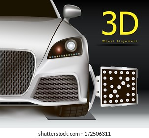 3D wheel alignment service. Modern silver car with sensor on wheel.