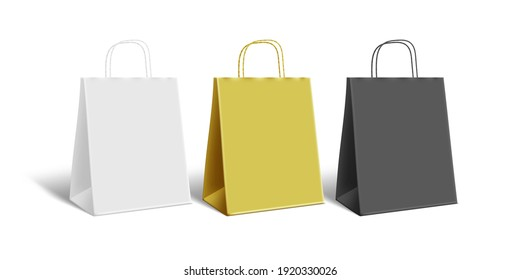 3D White, Black And Gold Paper Bag With Shadow On White Background. EPS10 Vector
