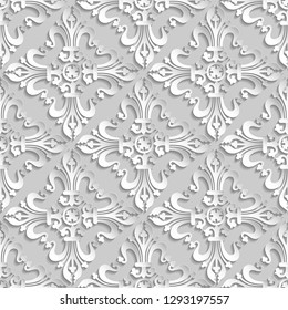 3D white elements with shadows and highlights. Paper cut. - Vector , Vector damask seamless pattern. Elegant luxury texture for interior wallpapers, backgrounds , wall and floor tile 3d pattern