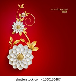 3D white and golden arabesque style flowers on red background, red background with floral design, floral design card