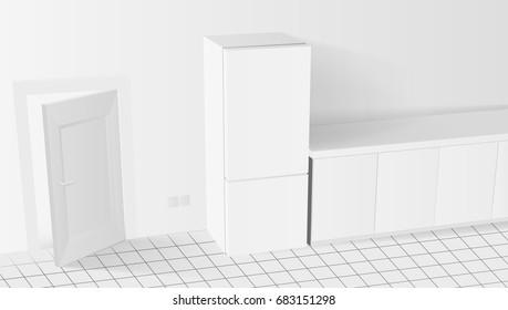 3D White Kitchen Interior With Fridge And Door. EPS10 Vector
