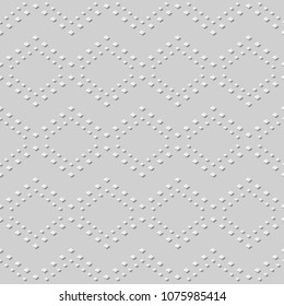 3D white paper art Square Mosaic Check Ross Line, Vector stylish decoration pattern background for web banner greeting card design