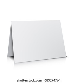 3d white paper card template, isolated on white