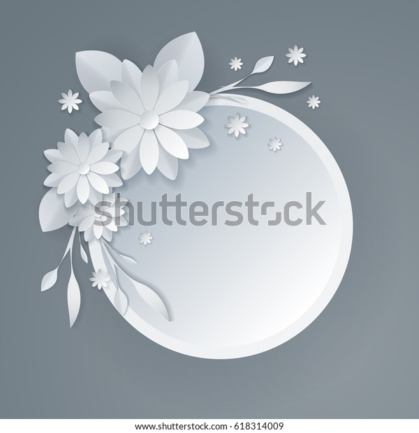 3d White Paper Craft Flowers Background Stock Vector