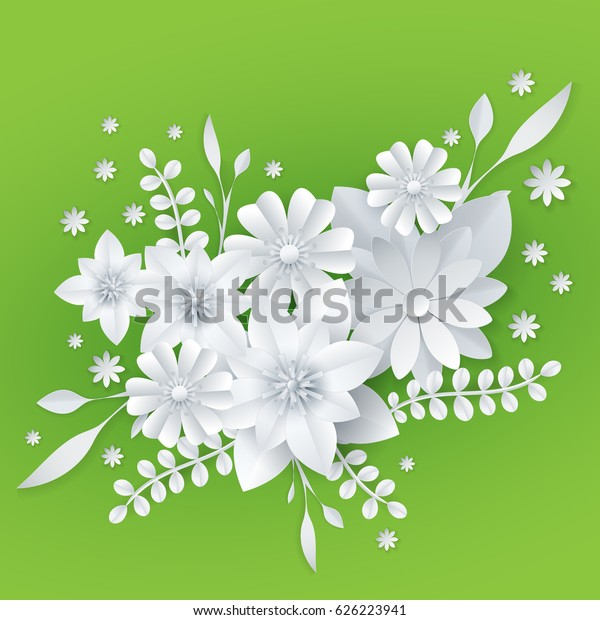 3d White Paper Craft Flowers Background Stock Vector Royalty Free