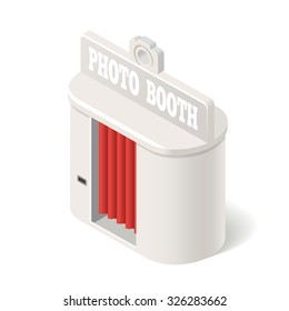3D white photo booth with red curtain