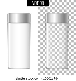 3d white realistic cosmetic package icon empty tubes on transparent and white background vector illustration. Realistic white plastic bottle for cream, liquid soap, essential oil or perfume