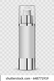3d white realistic cosmetic package icon empty tubes on transparent background vector illustration. Realistic white plastic bottle for cream liquid soap with a pump. Realistic bottle for essential oil
