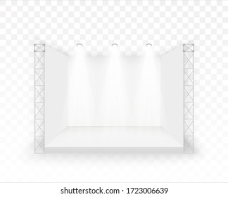 3D White stage, Podium concert scene, Performance show entertainment, Backdrop with led screen, spotlights Vector empty geometric square, Presentation event room display Vector illustration