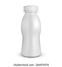 3D White Yogurt Milk Plastic Bottle. Products On White Background Isolated. Ready For Your Design. Product Packing. Vector EPS10