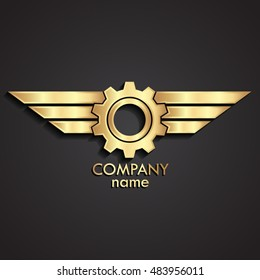 3d winged gear gold logo