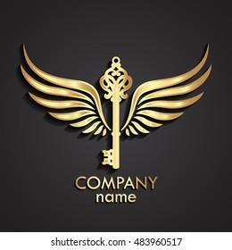 3d winged ornamental key logo