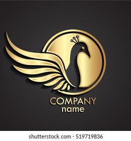 3d winged peacock bird gold logo