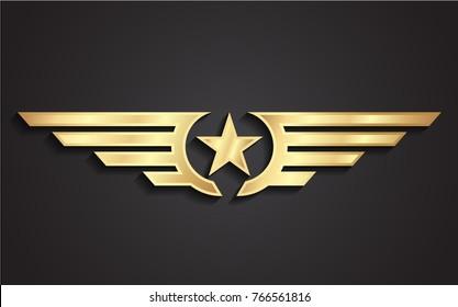 3d winged star golden symbol