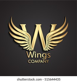3d wings gold W logo / vector illustration