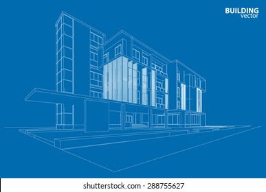 3d wire frame of building