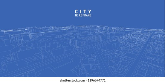 3d wireframe of building. city architecture sketch design.Vector