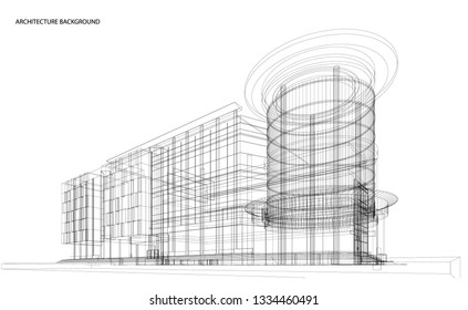 3d wireframe of building. sketch design