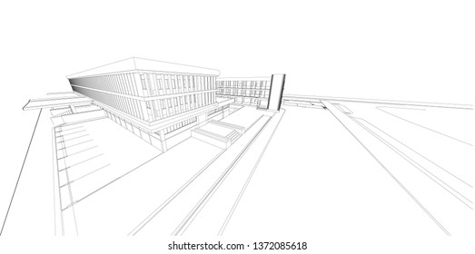 3d wireframe of building. sketch design.